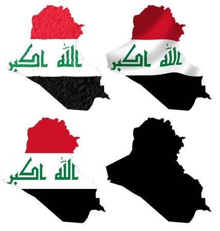 iraq war: Iraq flag over map collage