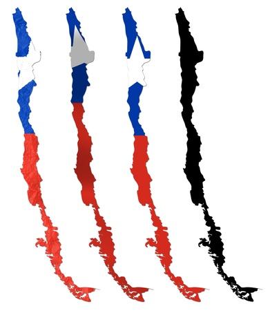 bandera de chile: Bandera de Chile sobre el mapa collage Foto de archivo