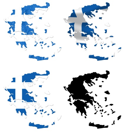 greece flag: Greece flag over map collage Stock Photo