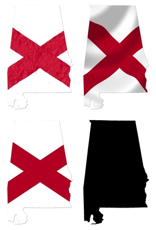 crumple: US Alabama state flag over map collage