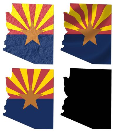 crumple: US Arizona state flag over map collage Stock Photo