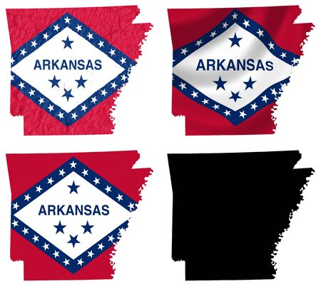 arkansas state map: US Arkansas state flag over map collage