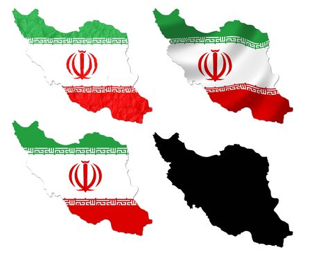 Iran flag over map collage photo