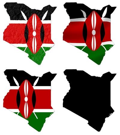 Kenya flag over map collage