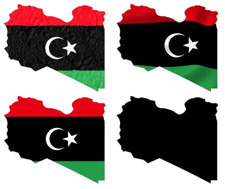 Libya flag over map collage photo