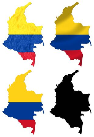 Colombia flag over map collage photo
