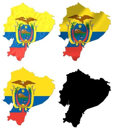 ecuador: Ecuador flag over map collage