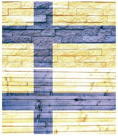 Vintage wall flag of Finland collage photo
