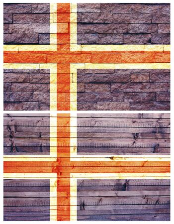Vintage wall flag of Iceland collage photo