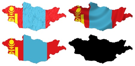 mongolia: Mongolia flag over map collage