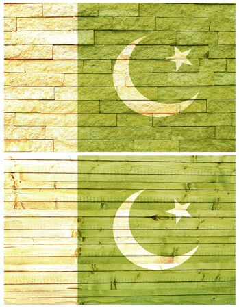 Vintage wall flag of Pakistan collage photo