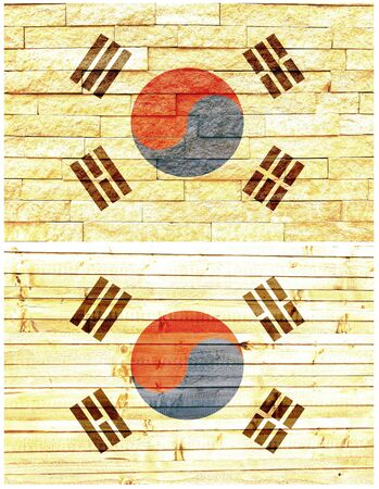 Vintage wall flag of South Korea collage photo
