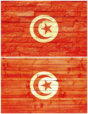 Vintage wall flag of Tunisia collage photo