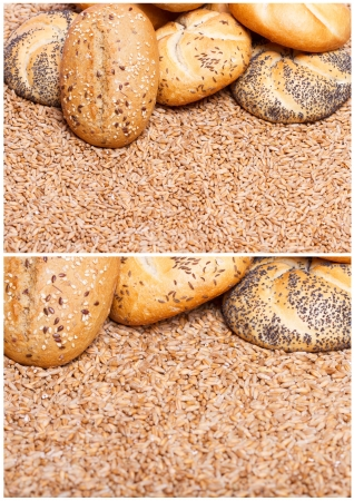 integral: Traditional integral bread over raw wheat cereals Stock Photo
