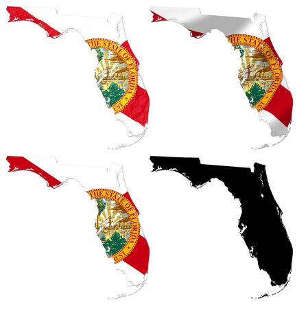 united stated: US Florida state flag over map collage