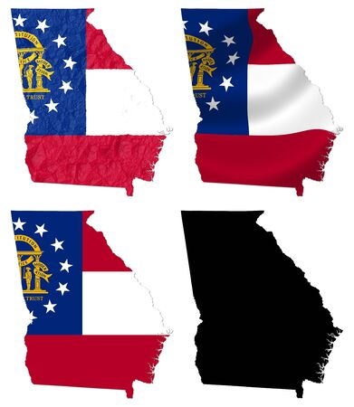 georgia flag: US Georgia state flag over map collage