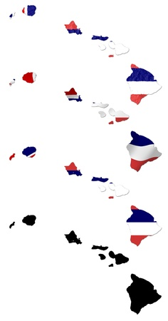 hawaii flag: US Hawaii state flag over map collage