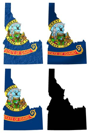 stated: US Idaho state flag over map collage Stock Photo