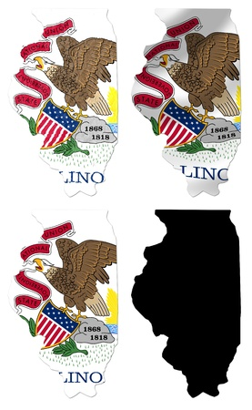 US Illinois state flag over map collage photo