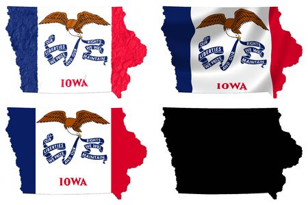 crumple: US Iowa state flag over map collage