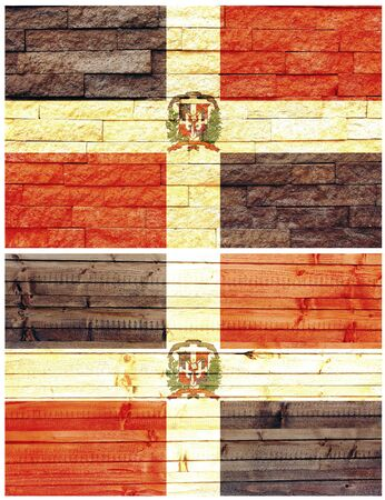 Vintage wall flag of Dominican Republic collage photo