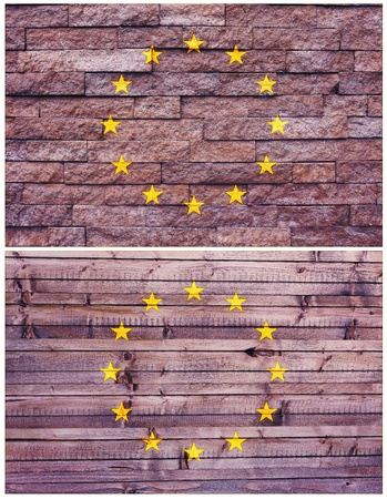 Vintage wall flag of European Union collage photo