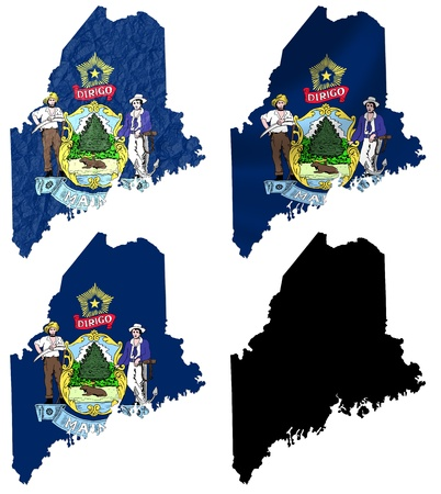 US Maine state flag over map collage photo