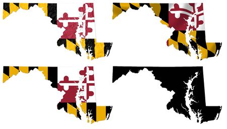US Maryland state flag over map collage photo