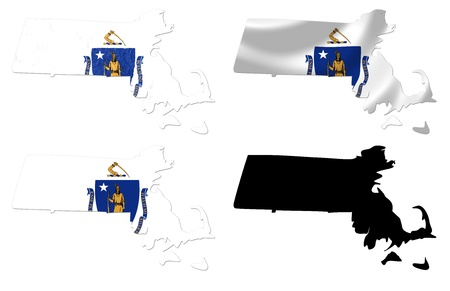 US Massachusetts state flag over map collage photo