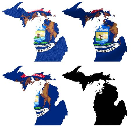 US Michigan state flag over map collage photo