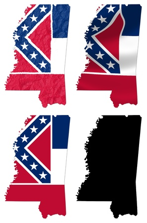 US Mississippi state flag over map collage photo