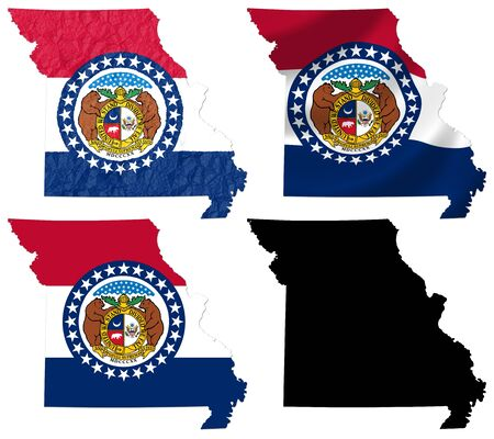 US Missouri state flag over map collage photo