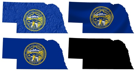 US Nebraska state flag over map collage photo
