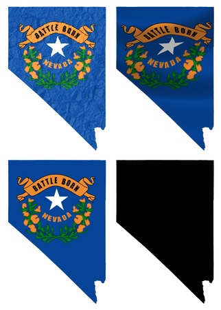 US Nevada state flag over map collage photo