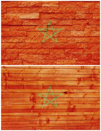 Vintage wall flag of Morocco collage photo