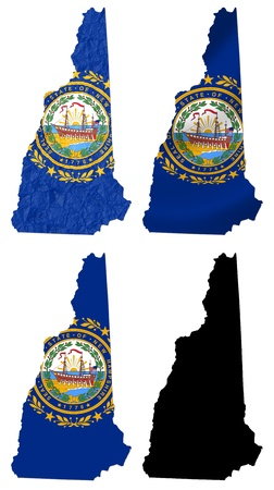 crumple: US New Hampshire state flag over map collage