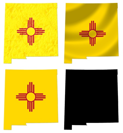 US New Mexico state flag over map collage photo