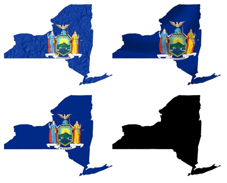 US New York state flag over map collage photo