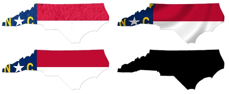 US North Carolina state flag over map collage photo