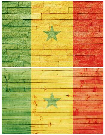 Vintage wall flag of Senegal collage photo