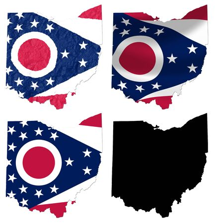 US Ohio state flag over map collage photo