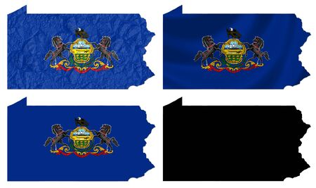 US Pennsylvania state flag over map collage photo