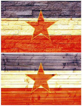 Vintage wall flag of former Yugoslavia collage Stock Photo - 18615520
