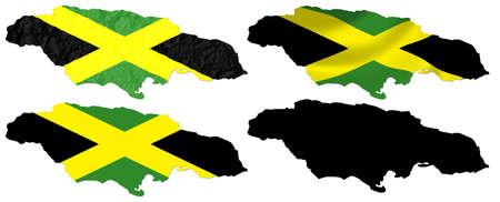 jamaica: Jamaica flag over map collage