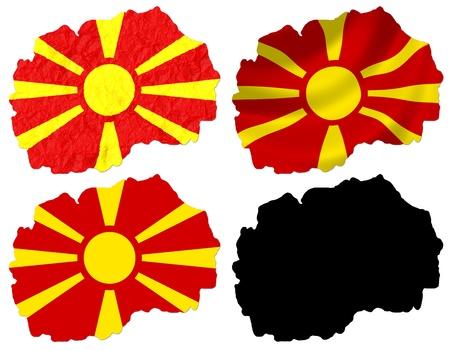 macedonia: Macedonia flag over map collage