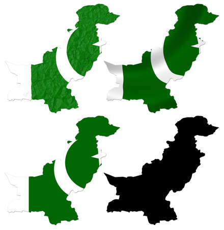 crumple: Pakistan flag over map collage Stock Photo