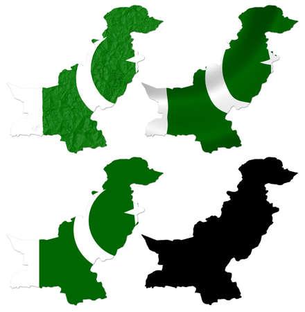 pakistan flag: Pakistan flag over map collage Stock Photo