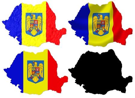 romania flag: Romania flag over map collage