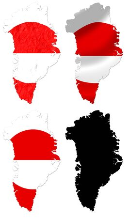 crumple: Greenland flag over map collage