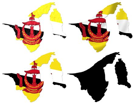 map of brunei: Brunei flag over map collage